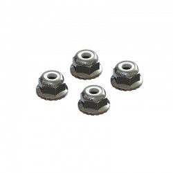 AR708008 Flanged Nyloc Locknut 4mm Silver (4)