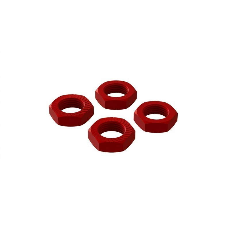 Aluminum Wheel Nut 17mm Red (4)
