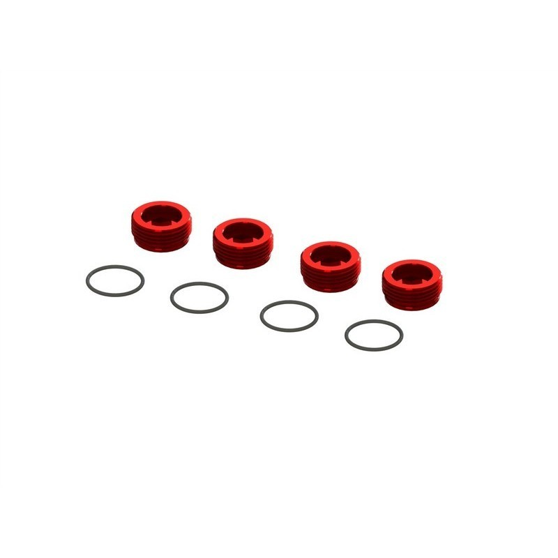 Aluminum Front Hub Nut Red (4) inc O-Rings